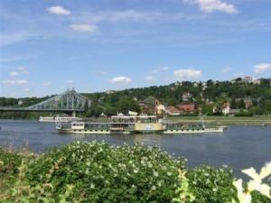 Elbe mit Dampfschiff am Elberadweg